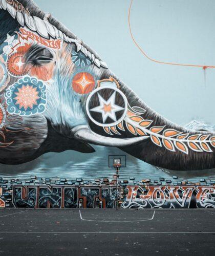 огромный арт слона на стене