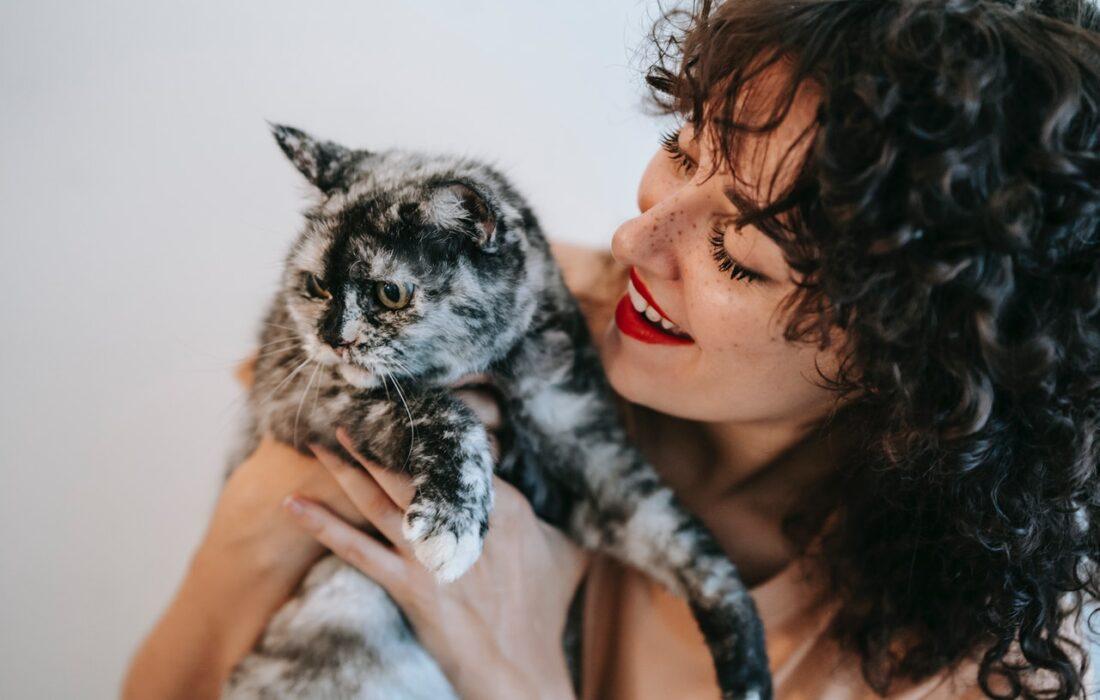 кудрявая девушка с котом