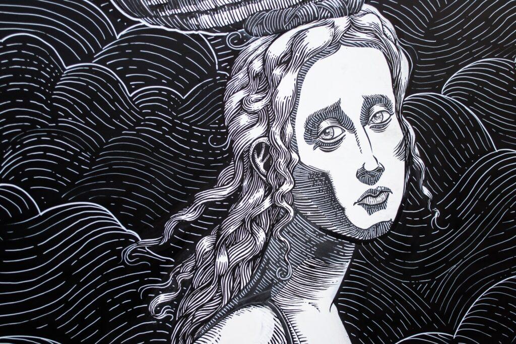 рисунок грустной девушки