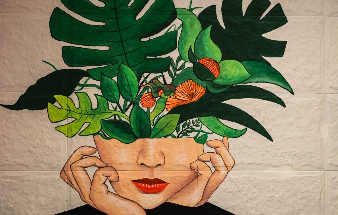 арт девушки и растения