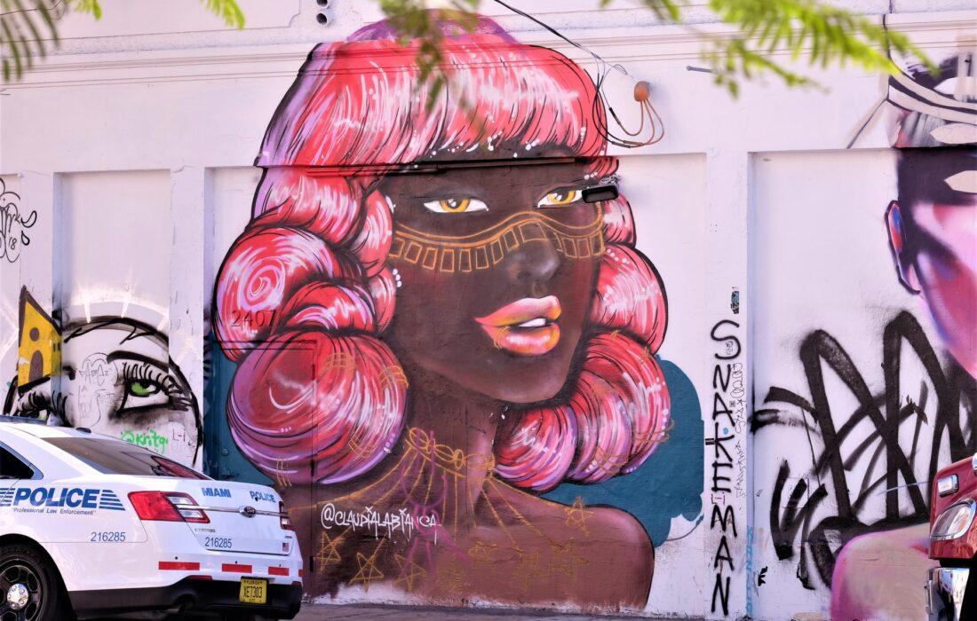 арт девушки на стене