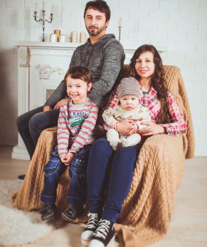 семья на фотосессии