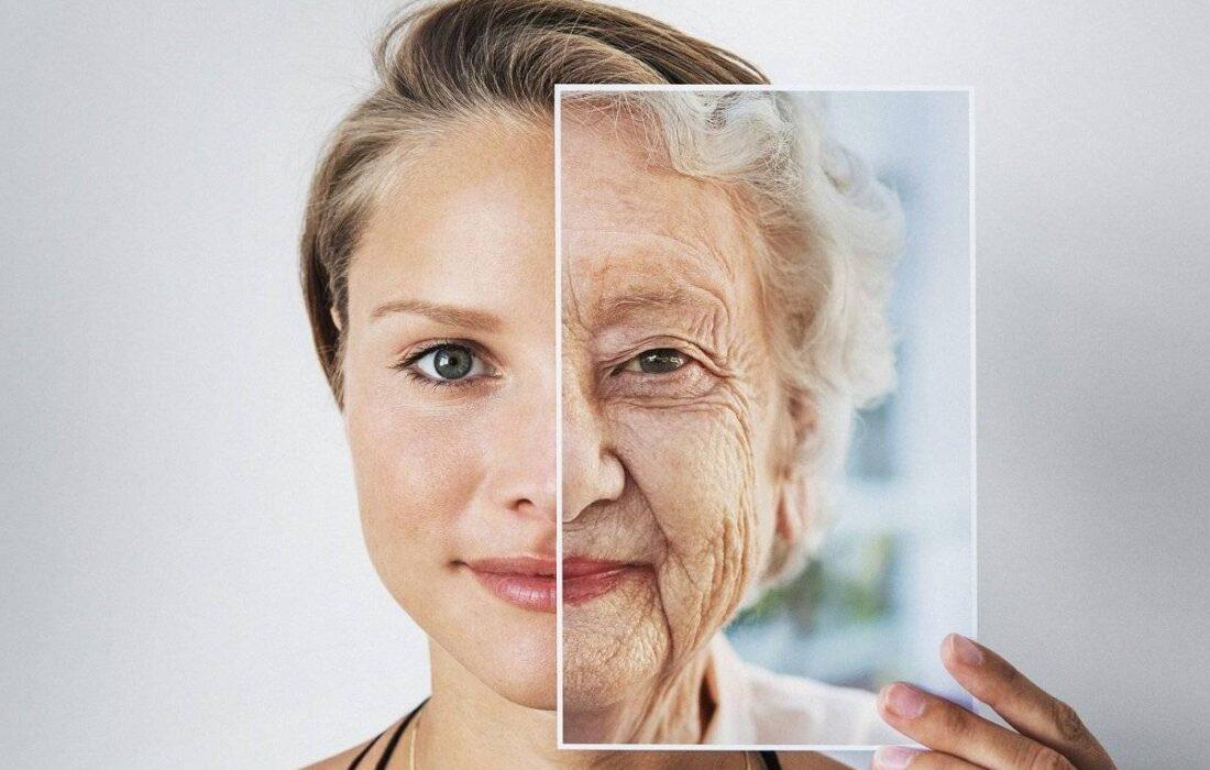 молодая и старая половины лица
