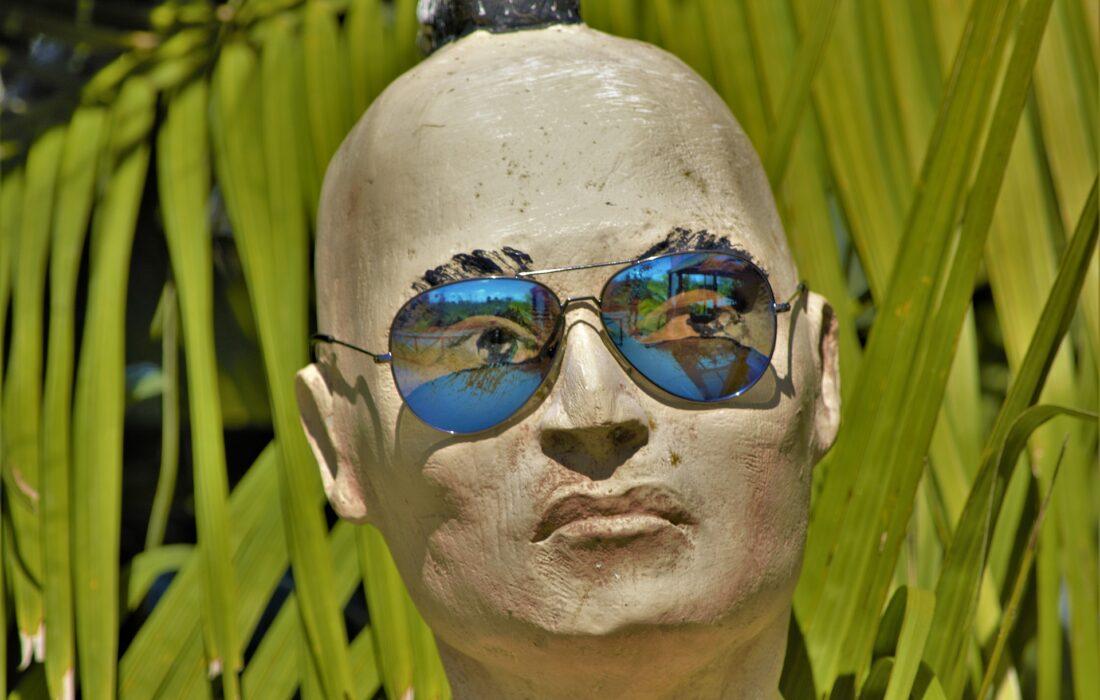 статуя лысой головы в очках