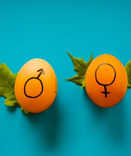 женский и мужской значки на яйцах