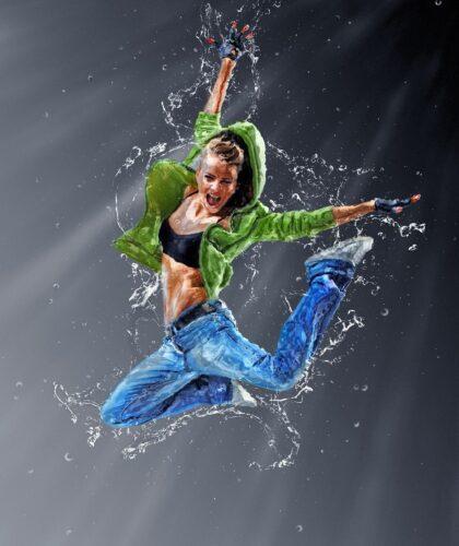арт прыгающей девушки