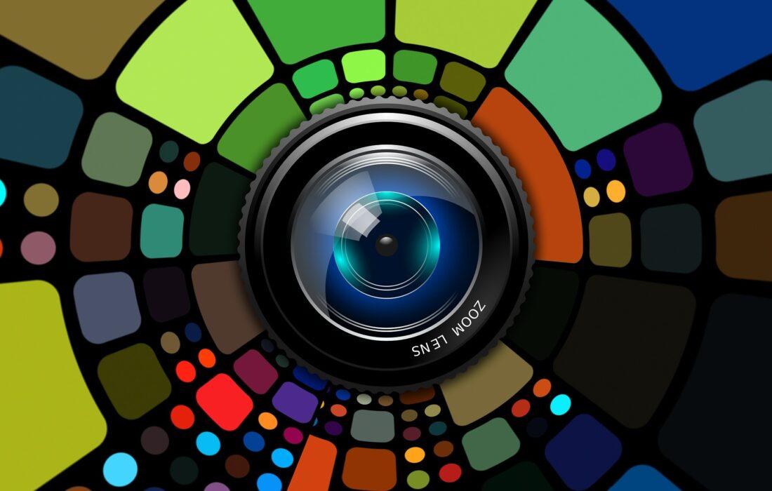 разноцветный объектив