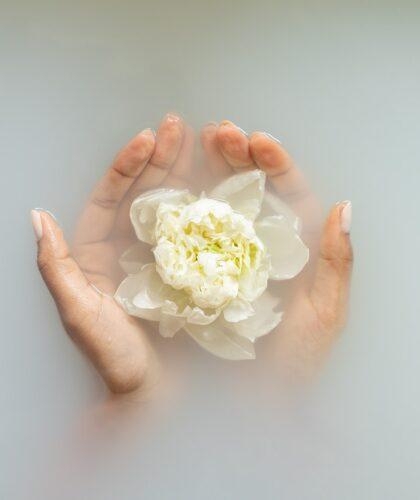 цветочек в ванной в руках