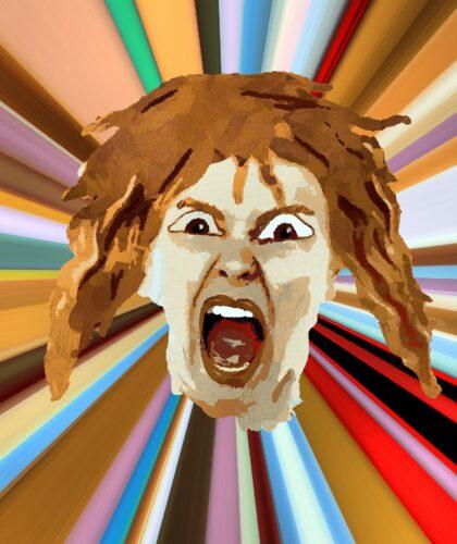арт кричащего человека