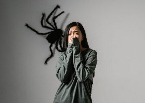 девушка с пауком