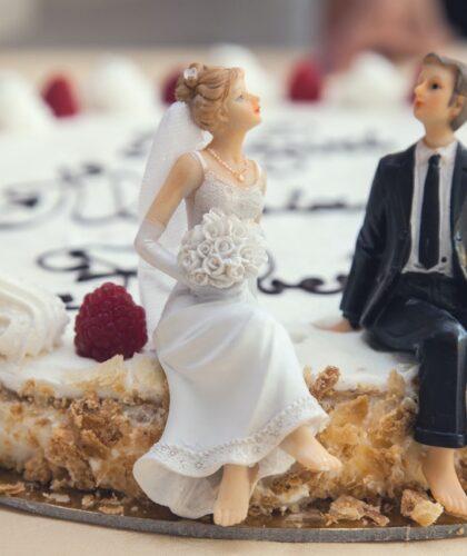 невеста и жених на торте
