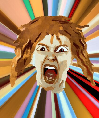 арт кричащей девушки