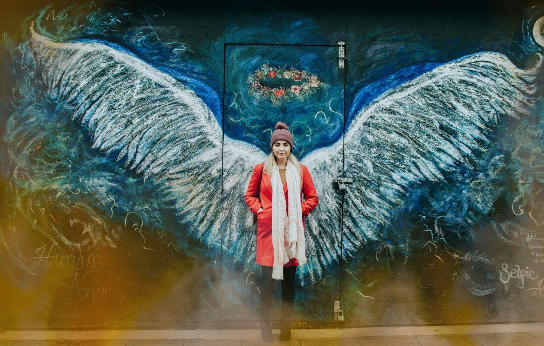девушка на фоне арта крыльев